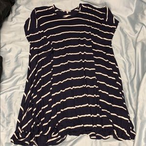 Navy blue and white stripped dress